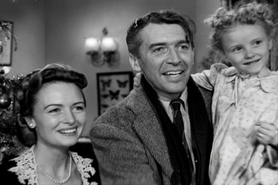 Scene of Mary, George, and Zuzu from It's a Wonderful Life