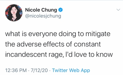 "Nicole Chung tweet: ""what is everyone doing to mitigate the adverse effects of constant incandscent rage, I'd love to know"""