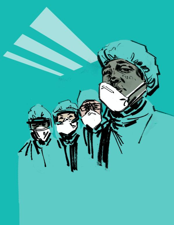 illustration of masked health care workers of different races
